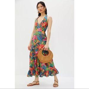 FARM Rio Anthropologie Brighton Toucan Maxi Dress